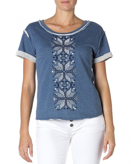 Miss Me Blue Embroidered Short Sleeve Shirt