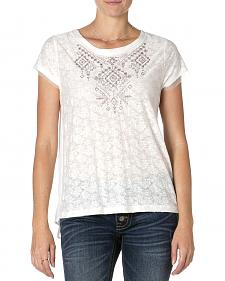 MIss Me Lace Embroidered Short Sleeve Top