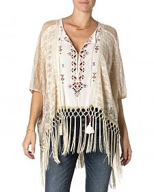 Miss Me Cream Fringe Lace Top