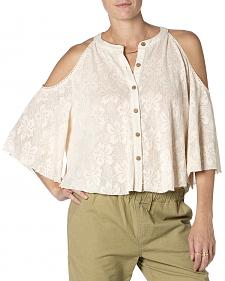 Miss Me Open Shoulder Cream Top