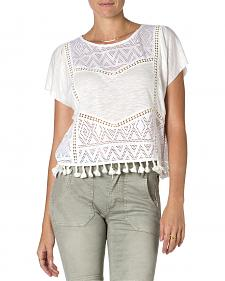 Miss Me Off-White Short Sleeve Tassel Top