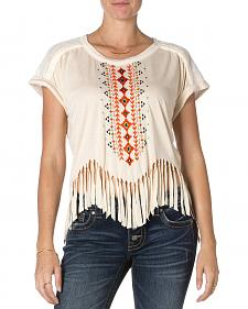 Miss Me Short Sleeve Taupe Fringe Top
