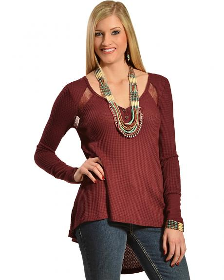 Others Follow Women's Waffle Lace Top