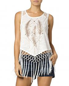 Miss Me Feather Fringe Tank Top