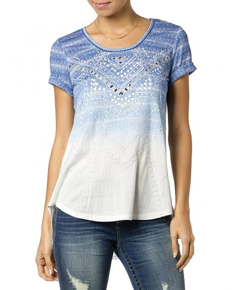 Miss Me Laser Cut Ombre Top