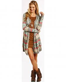 Rock and Roll Cowgirl Women's Open Front Aztec Cardigan