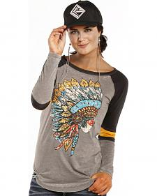 Rock and Roll Cowgirl Grey and Yellow Headdress Varsity T-Shirt