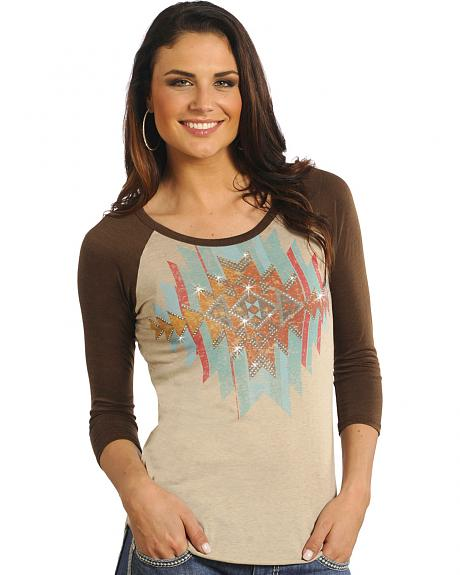 Rock and Roll Cowgirl Tan Aztec Baseball T-Shirt