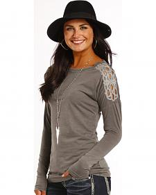 Rock and Roll Cowgirl Silver Cutout Shoulder Long Sleeve T-Shirt