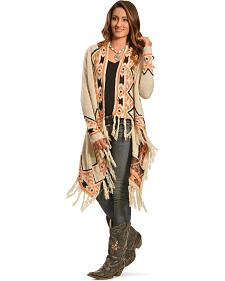 Petrol Women's Cream Aztec Wrap
