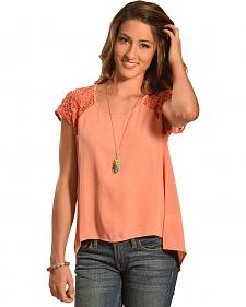 Petrol Women's Rose Lace Short Sleeve Top
