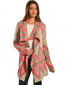 Petrol Women's Pink and Grey Aztec Wrap
