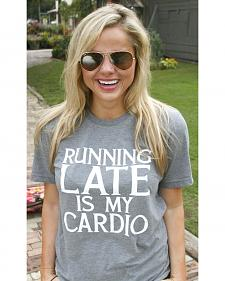 "ATX Mafia Women's Grey ""Running Late is My Cardio"" T-Shirt"