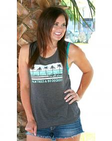 ATX Mafia Women's Grey Palm Trees Tank