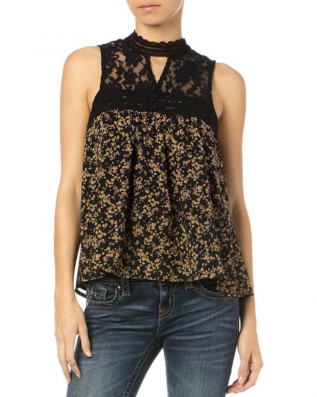Miss Me Women's Victoria Floral Lace Sleeveless Top