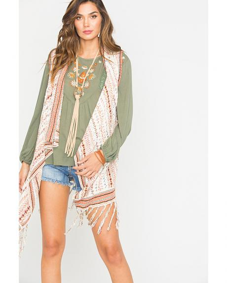 Miss Me Ivory Fringe Sweater Vest