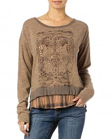 MIss Me Brown Double Layer Graphic Pullover Top