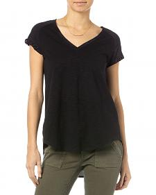 Miss Me Black Suede Raglan Sleeve V-Neck Top