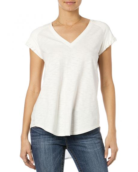 Miss Me White Suede Raglan Sleeve V-Neck Top