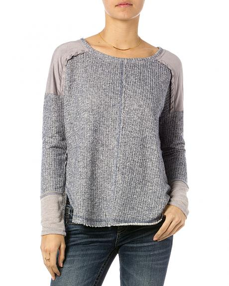 Miss Me Light Blue Suede Stitch Pullover Top