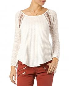 Miss Me Natural Mix-Match Crochet Long Sleeve Top