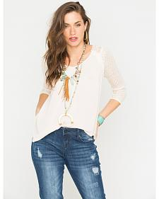 Miss Me Cream Cross Back 3/4 Sleeve Top
