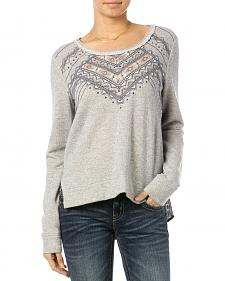 Miss Me Printed Chiffon Back Embroidered Sweater