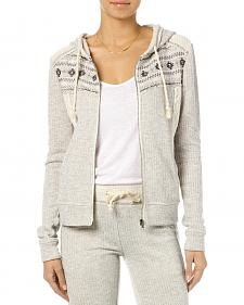 Miss Me Women's Heather Grey Crochet Hoodie
