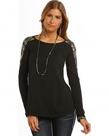 Rock adn Roll Cowgirl Women's Black Sparkling Shoulder Long Sleeve T-Shirt