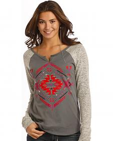 Rock and Roll Cowgirl Women's Aztec Diamond Long Sleeve T-Shirt
