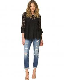 Miss Me Black Lace Tie Back Top