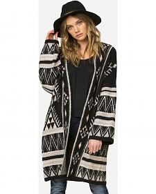 Miss Me Women's Tribal Patterned Oversized Cardigan