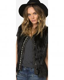 Miss Me Women's Faux Fur Sweater Vest