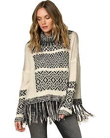 Miss Me Women's Fringe Trimmed Turtleneck Sweater