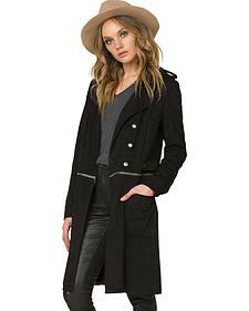Miss Me Women's Black Work 'n Slay Trench Coat
