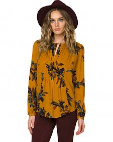Miss Me Women's Mustard Yellow Floral Soiree Peasant Top