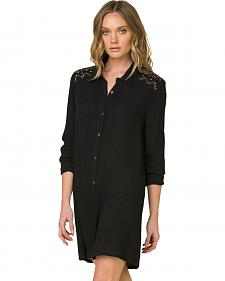 Miss Me Women's Black Forbidden Path Shirt Dress