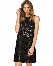 Miss Me Women's Black Sleeveless Embroidered Dress