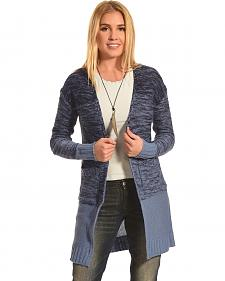 Derek Heart Women's Blue Marled Long Cardigan