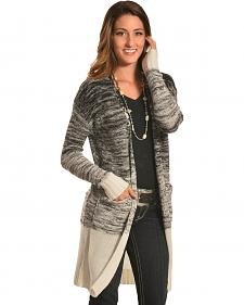 Derek Heart Women's Black Marled Long Cardigan