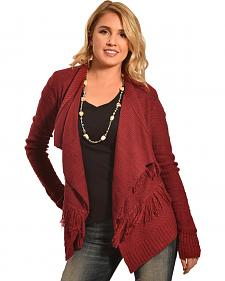 Derek Heart Women's Red Twisted Yarn Slub Fringe Cardigan