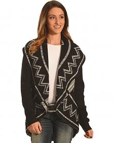 Derek Heart Women's Aztec Shawl Collar Cardigan