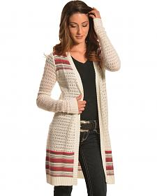 Derek Heart Women's Cream and Coral Duster Cardigan