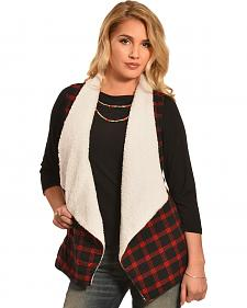 Derek Heart Women's Red and Black Plaid Sherpa Lined Waterfall Vest
