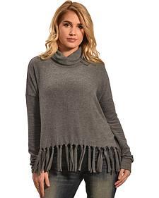Derek Heart Women's Black Drop Shoulder Cowl Neck Fringe Sweater