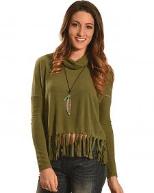 Derek Heart Women's Olive Drop Shoulder Fringe Sweater