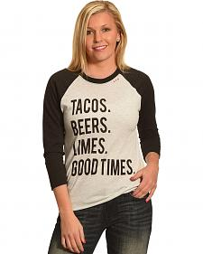 Bohemian Cowgirl Women's Tacos Beers Limes Baseball Tee