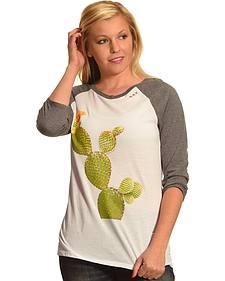 Bohemian Cowgirl Women's Grey Cactus Raglan Tee