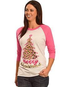 Bohemian Cowgirl Women's Leopard Christmas Tree Raglan Tee