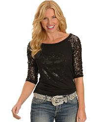 Cowgirls and Diamonds Three-Quarter Sequin Sleeve at Sheplers